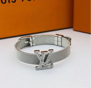 "Julia Diamond ""LV""  Silver Bracelet"