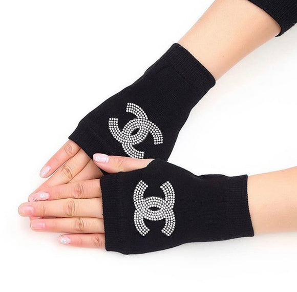 All Rhinestone Finger less Gloves