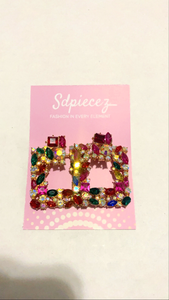 Pink Multi Color Square Gemstone Earring
