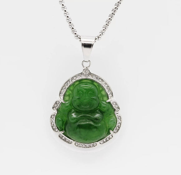 Green Buddha Silver Necklace