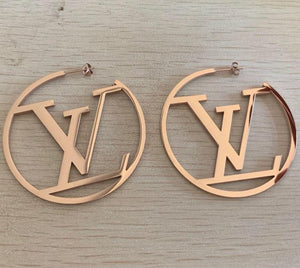 "Sex In the City ""LV"" Rose Gold Hoop Earring"