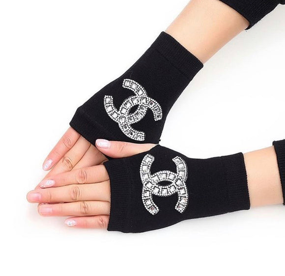 Big Bling Rhinestone Finger less Gloves