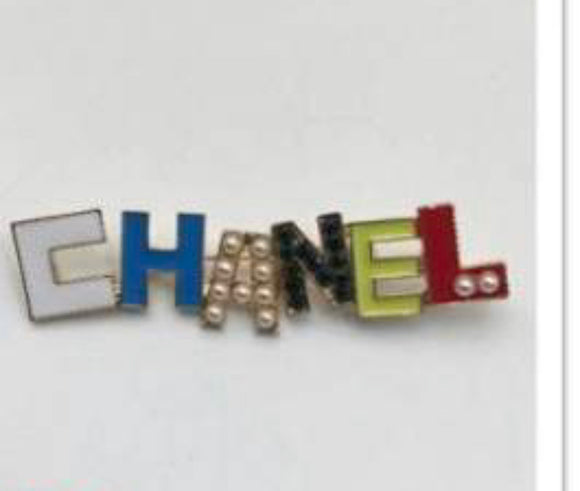 white Multi Color Word Brooch