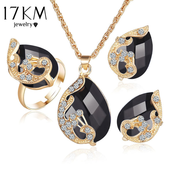 17KM Jewelry Sets 5 Colour Crystal Peacock Jewelry Sets Bride Wedding Necklace Earrings Ohrringe Ring Set  parure bijoux femme