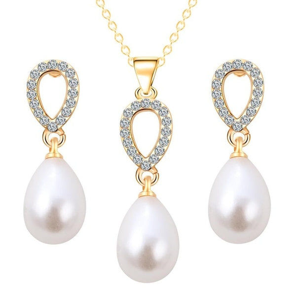 Cute simulated Pearl Jewelry Sets Water Pendant Necklaces Earrings For Women Wedding Heart crystal Jewelry parure bijoux femme