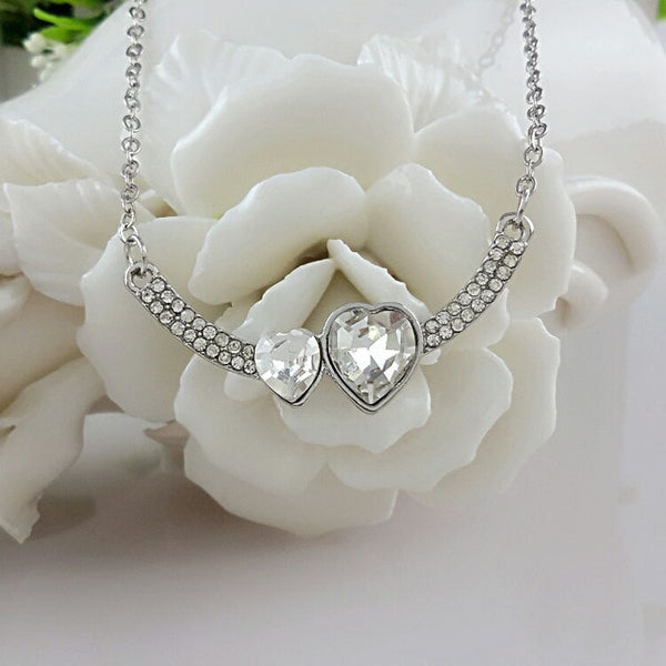 Wholesale Austrian Crystal Jewelry Double Crystal Heart Pendant Necklace Full Of Rhinestone For Women Engagement Jewelry