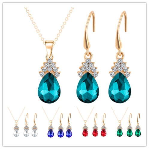 Water Drop Crystal Jewelry Sets For Women Fashion Jewelry Gold Color Full Rhinestone Crystal Heart Pendant Necklace Earring Setw