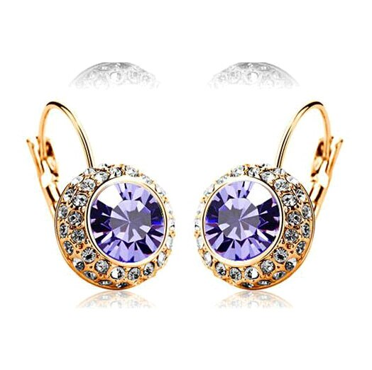 2016 New Party Jewelry New Fashion Round sholl Earring brincos Stud Gold With Austrian Full Crystal Earrings For Women