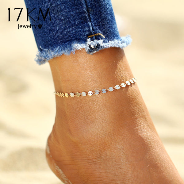 17KM Gold Color Retro Coin Anklets For Women Vintage Yoga Beach Ankle Sequins Bracelet Sandals Brides Shoes Barefoot Gifts