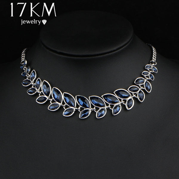 17KM 3 Color Leaves Crystal Choker Statement Necklace for Women Bohemian Rhinestone Collar Bijoux Maxi Necklaces Wedding Jewelry