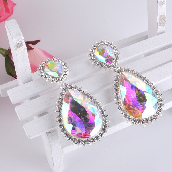 Fashion Big water drop design glass AB crystal material  drop earrings  women party wedding Dress dangle Bridal earrings