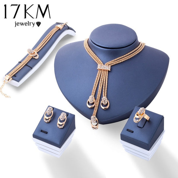 17KM Rose Gold Color Crystal Necklace Earring Bracelet Ring Set Rhinestone New Simple Party Dress Jewelry Sets For Women