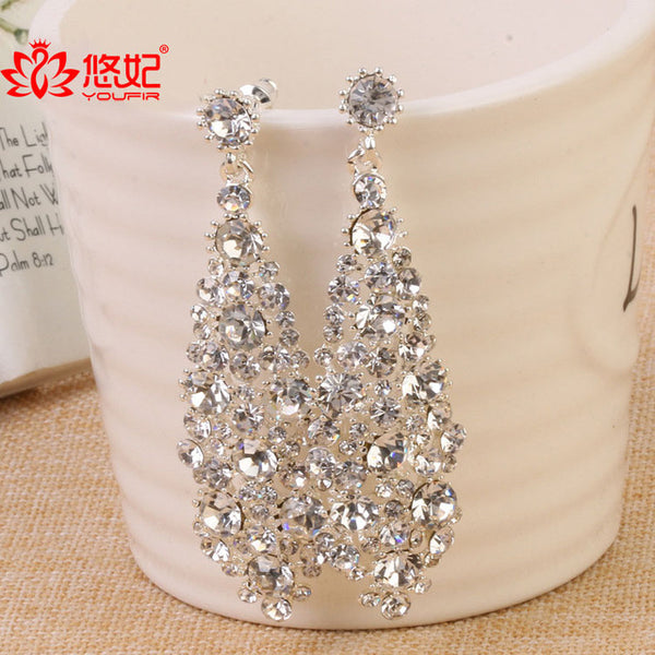 High Quality Long Earrings for Women party show earrings Rhinestones crystal earrings for bridal jewelry drop earrings