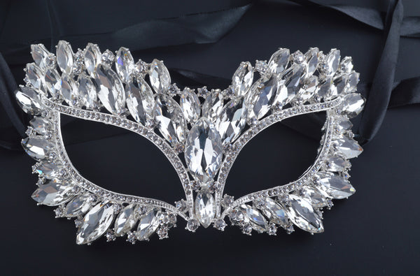 Luxury Half Face Silver Plated Crystal Mask Zinc alloy Metal white Big Rhinestone Mask for  Masquerade Mask Jewelry