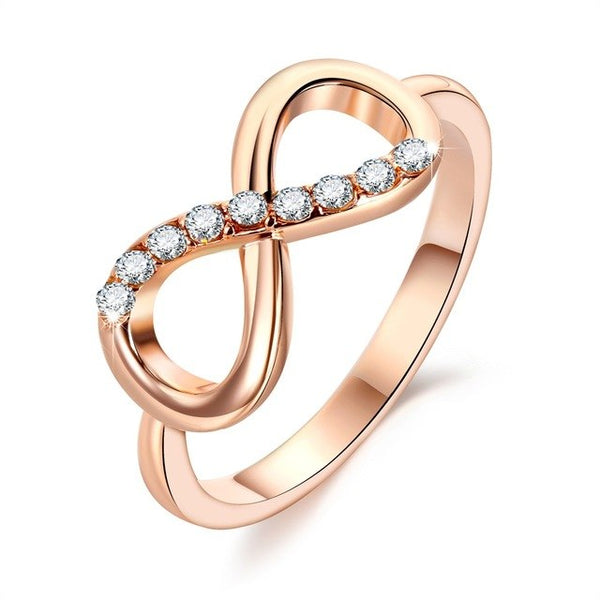 FAMSHIN New Design hot sale Fashion Alloy Crystal Rings Gold Color Infinity Ring Statement jewelry Wholesale for women Jewelry