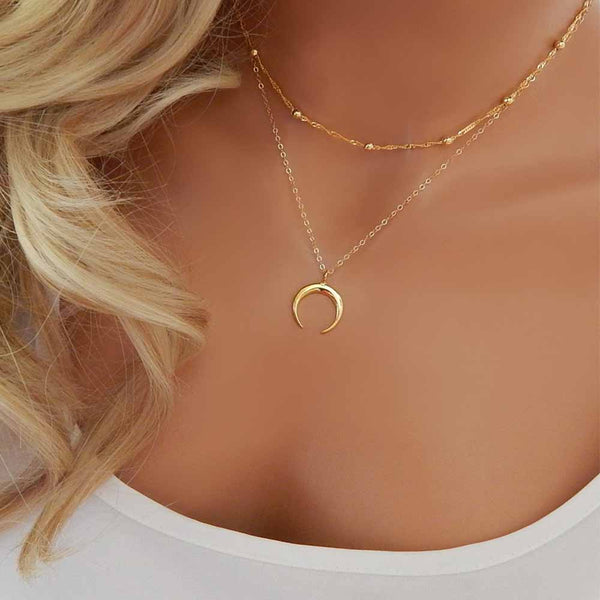FAMSHIN 2017 New Fashion Double Horn Necklace Crescent Moon Necklace Boho Jewelry Minimal Girlfriend Gift
