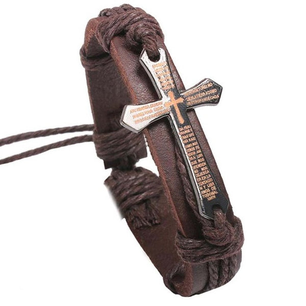 FAMSHIN New Hot Bracelet For Women Men Jewelry Handmade Braid Genuine Leather bracelet Wrap Charm Cross Bracelets  Fine Jewelry