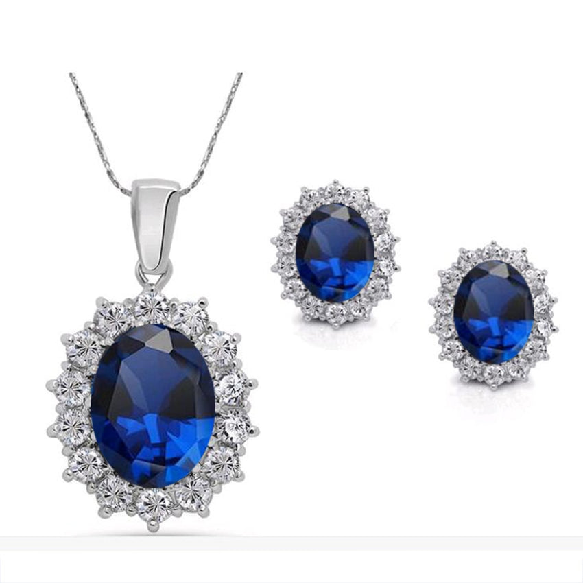 FAMSHIN 2016 Fashion Silver Blue Crystal Jewelry Sets Luxury Vintage Party Water Drop CZ Necklace&Earrings Fine Jewelry