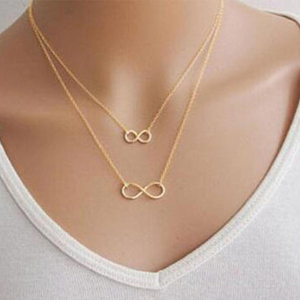 FAMSHIN 2017 New Hot Gold Silver Women Girl Fashion Jewelry Double Infinity Pendant Necklace Wedding Event Necklaces