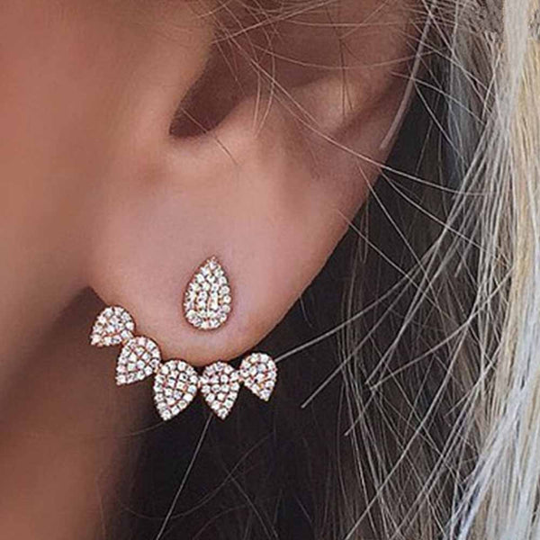 FAMSHIN 2017 New Hot Drop Crystals Stud Earring for Women gold color Double Sided Fashion Jewelry Earrings female Ear brincos