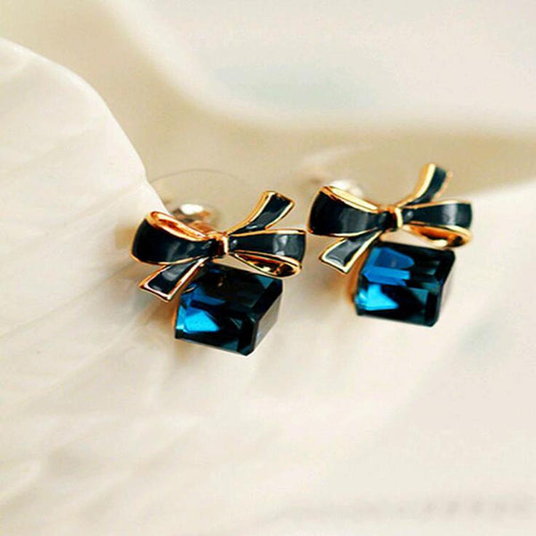 FAMSHIN Blue Kiss  The Fashion 2015 Chic Shimmer Gold Bow Cubic Crystal Earrings Gold-Tone GP Rhinestone Stud Earrings For Women