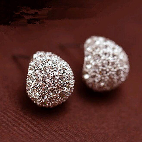 FAMSHIN Jewerly Fashion Vintage Full Crystal Crescent Stud Earrings Beatles Earring For Woman New 2016 Christmas Gift Wholesale