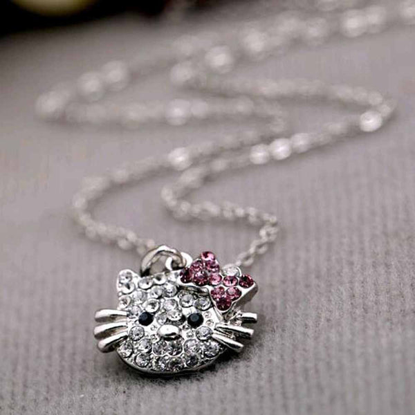 FAMSHIN 2017 New Arrival Fashion Crystal Cat Rhinestone Hello Kitty necklace Bowknot KT Jewelry For Girls Necklace