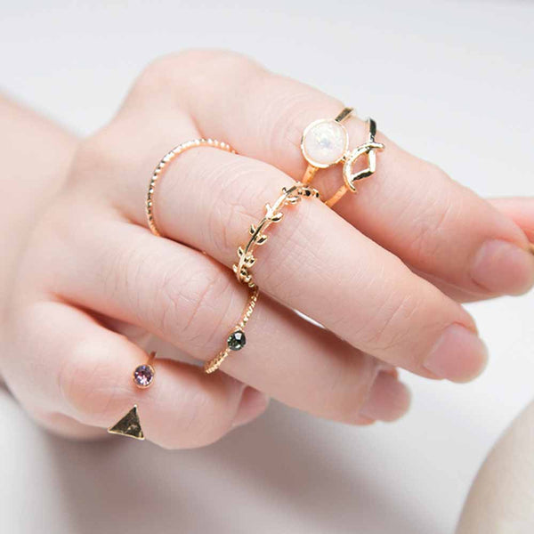 FAMSHIN 5PCS /Set Ring Charm Pink Crystal artificial Stone Geometric Triangular Tree Rattan Simple Ring For Women
