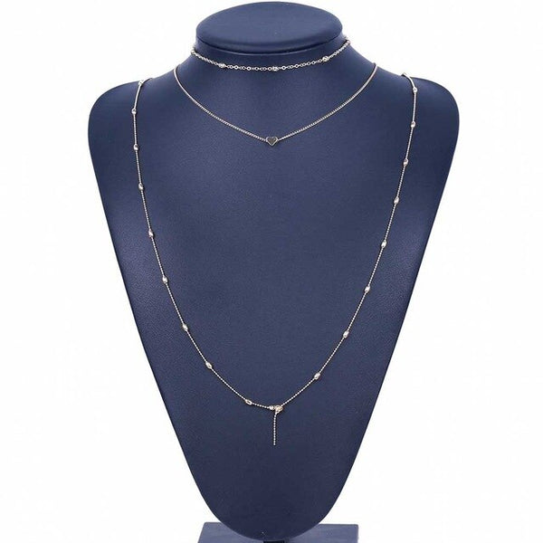 FAMSHIN Fashion gold silver color long necklace with heart for women jewelry gift party elegant lady choker necklace gift