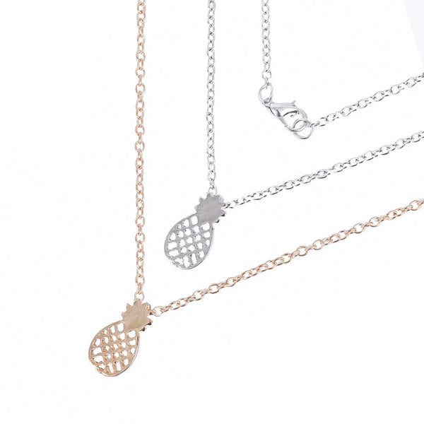 FAMSHIN Fashion Gold color Pierced Pineapple Pendant Chain Necklace Women Girls Chocker necklace Gifts Jewelry
