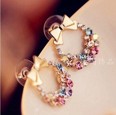 FAMSHIN Free Shipping $3 (mix order) New Fashion Imitation Colorful Rhinestone Bow Earrings  Vintage Jewelry E24