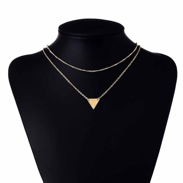 FAMSHIN Fashion Geometry triangle Sequins copper bead chain multilayer short Necklace For Women Chokers Necklaces