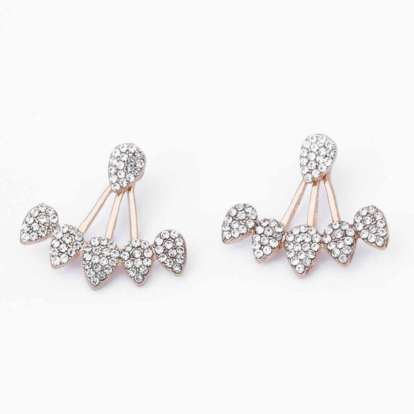 FAMSHIN Drop Crystals Stud Earring for Women gold  Silver color Double Sided Fashion Jewelry Earrings female Ear brincos