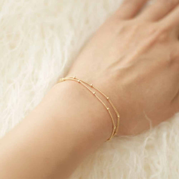 FAMSHIN Summer bracelets & bangles Dainty Double-Layer Satellite Chain Gold Bracelet Wedding Gift