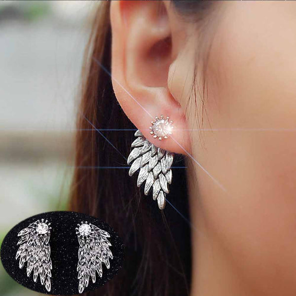 FAMSHIN 2017 Women's Angel Wings Stud Earrings Rhinestone Inlaid Alloy Ear Jewelry Party Earring Gothic Feather Brincos Gifts