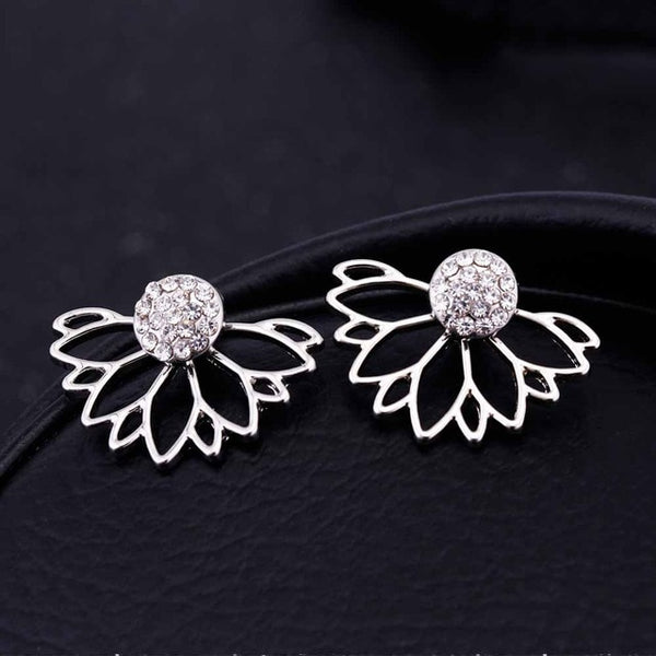 FAMSHIN 2017 Lotus Crystal Jacket Flower Stud Earrings For Women fashionJewelry Double Sided Gold Silver Plated earrings