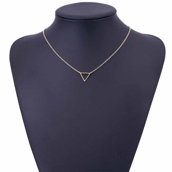 FAMSHIN 2017 Simple Chains Necklaces Triangle Necklace Delicate Minimal Triangle Necklace For Women Charm Necklace