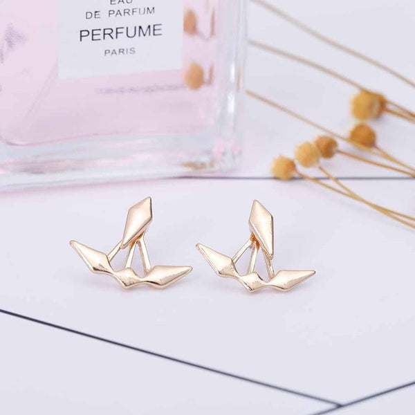 FAMSHIN 2017 New Geometric Glossy Asymmetric Rhombus Stud Earrings for Women Elegant Earing Jewelry Gift