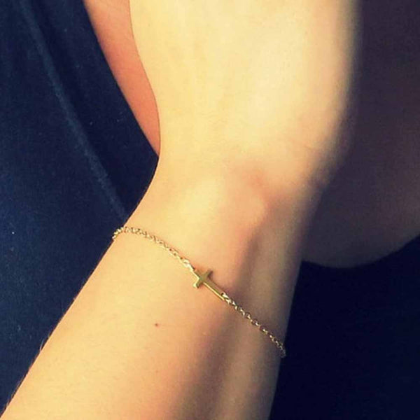 FAMSHIN Fashion Gold Chain Simple Cross Bracelet Cheap Bracelet Exquisite jewelry for women