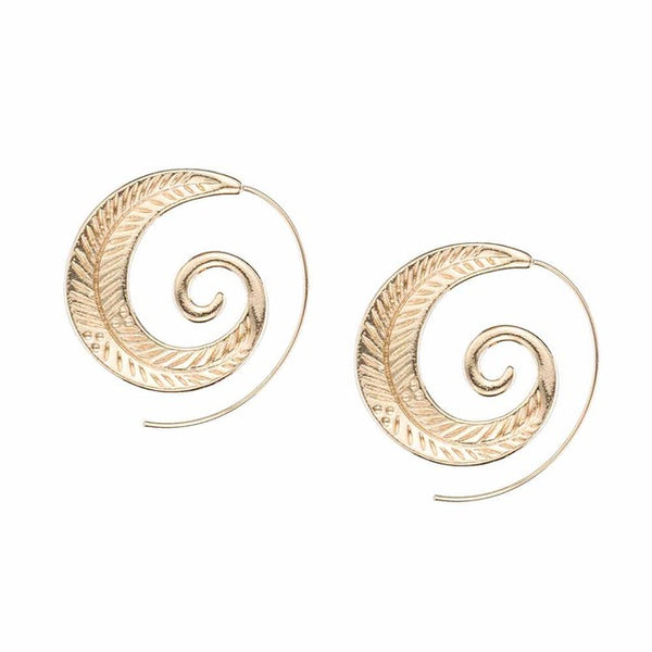 FAMSHIN Fashion Punk Personality Round Spiral Earrings Exaggerated Circle Leaf Whirlpool Gear Earrings for Women Jewelry