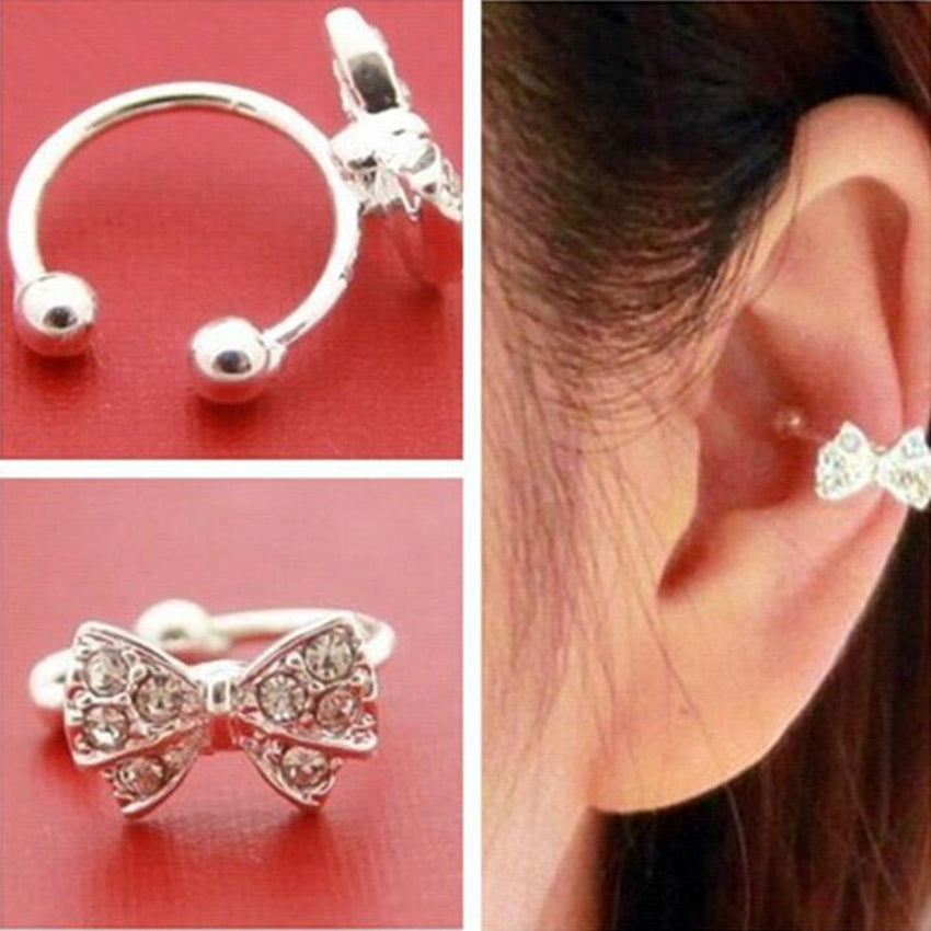 FAMSHIN 1 pc Punk Rhinestone Bow Knot Ear Clips Cuff Wrap Earring Brincos No Piercing Cartilage Clip On Earrings For Women Girls