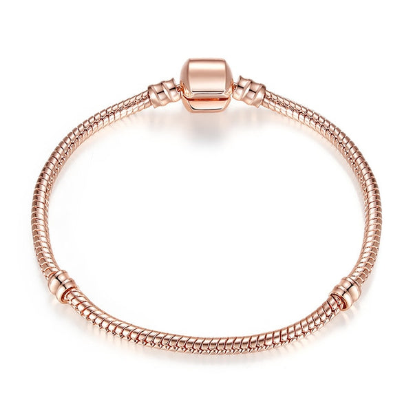BAMOER Rose Gold Color & Silver Snake Chain Bracelets DIY Bracelet Jewelry 16CM-23CM 8 Size Choice PA9007