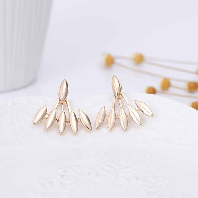 FAMSHIN 2017 New Steampunk Geometric Glossy Asymmetric Ear Jacket Leaf Stud Earring for Women Jewelry Gift