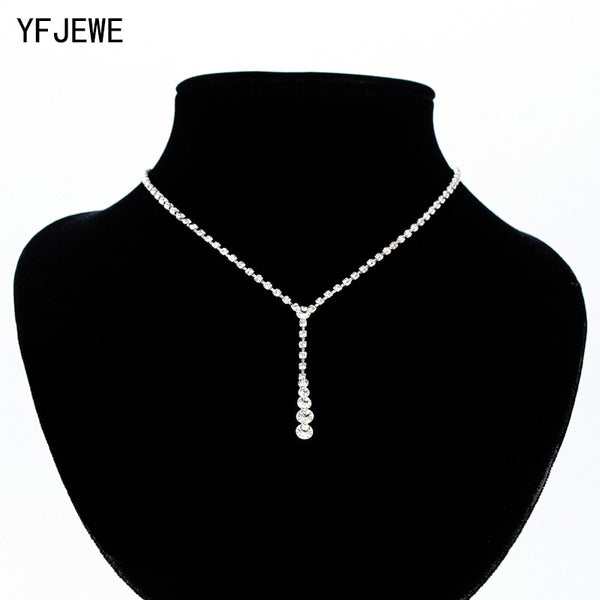 YFJEWE Women Full Rhinestone Pendant Jewelry Collar Necklace Water Stylish Wedding Clavicle Necklaces Choker Necklace  N357