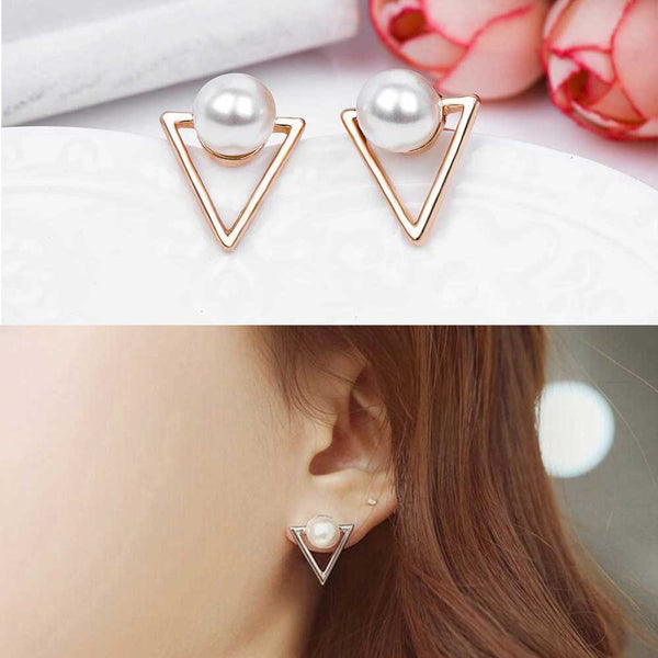 FAMSHIN Hot fashion earrings jewelry personality Geometric triangle Simulated pearl stud earrings for women jewelry