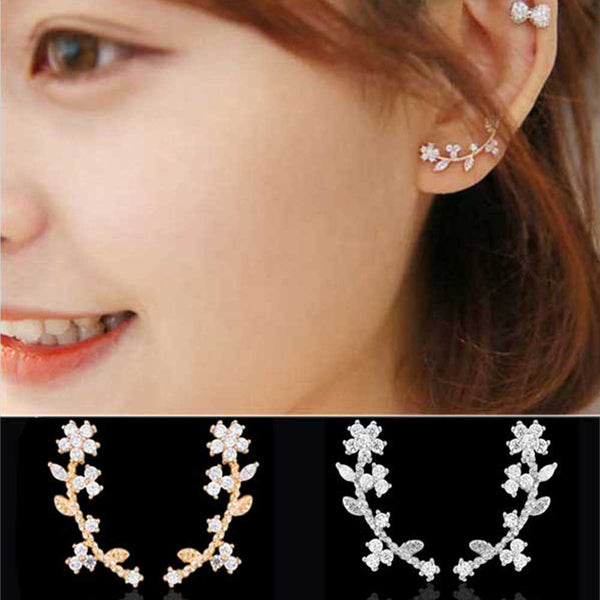 FAMSHIN Korean Zircon elegant of the sweet flowers leaves crystal  curved earrings girls temperament popular earrings wholesale