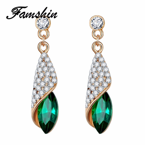 FAMSHIN Fashion Gold Colors Statement Austria Blue Crystal Long Earrings Rhinestone Water Drop Elegant Dangle Earrings Jewelry