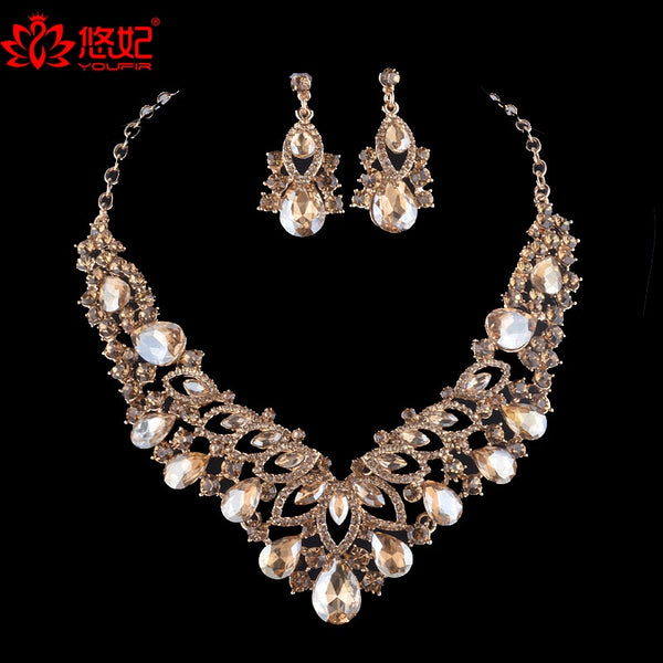 Simple dubai Jewellery sets women colorful Necklace Earring sets for Bride bridesmaid Party Wedding dress jewelry Accessories