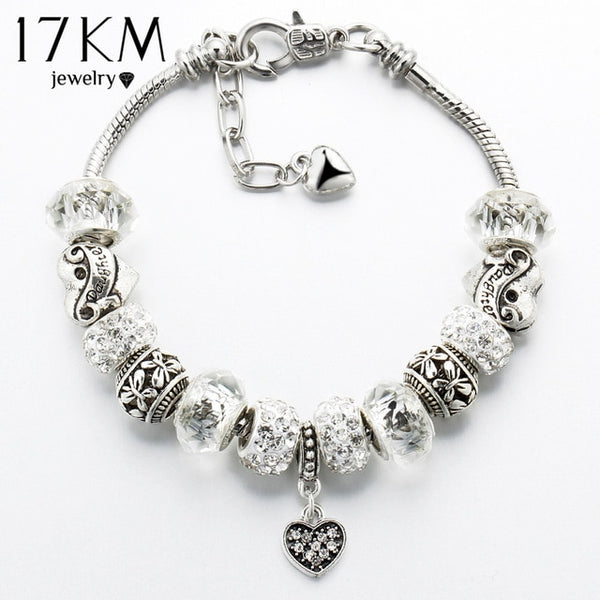 17KM Fashion Silver Color Glass Charm Bracelets & Bangles For Women Vintage Crystal Heart Ball Beads Pulseras DIY Jewelry
