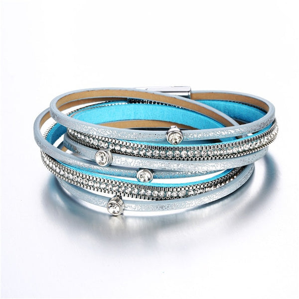 17KM New Fashion Cuff Charms Bracelets For Women Men Vintage Bead Multiple Layers Leather Bracelet Femme Statement Jewelry Gift